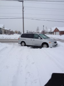See the tire tracks? That's the direction the van should be heading!